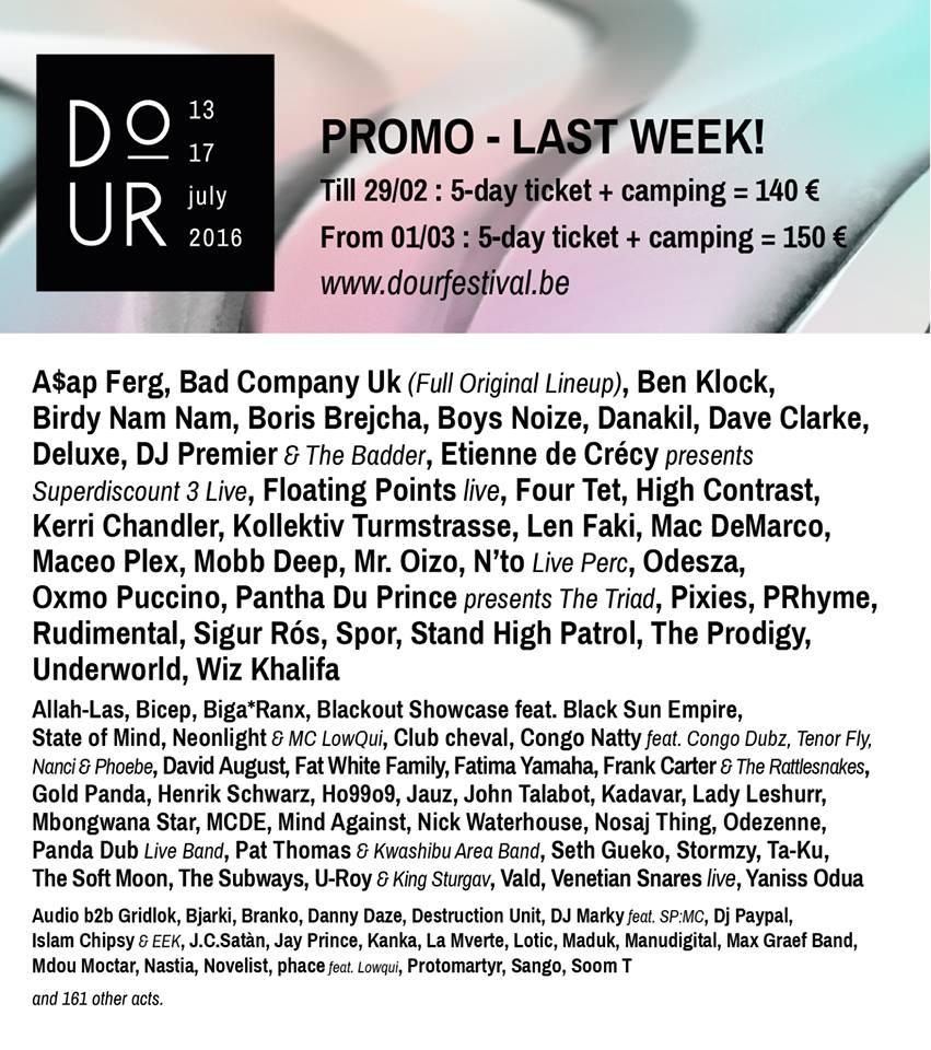 Cartel hasta el momento del Dour Festival 2016