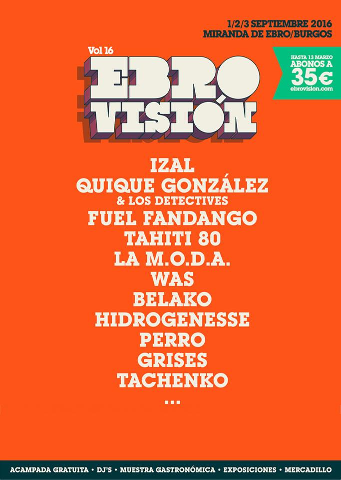 Cartel hasta el momento del Ebrovisión 2016