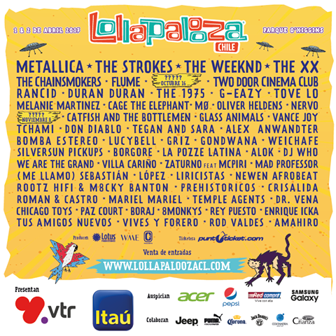 Cartel Lollapalooza Chile 2017